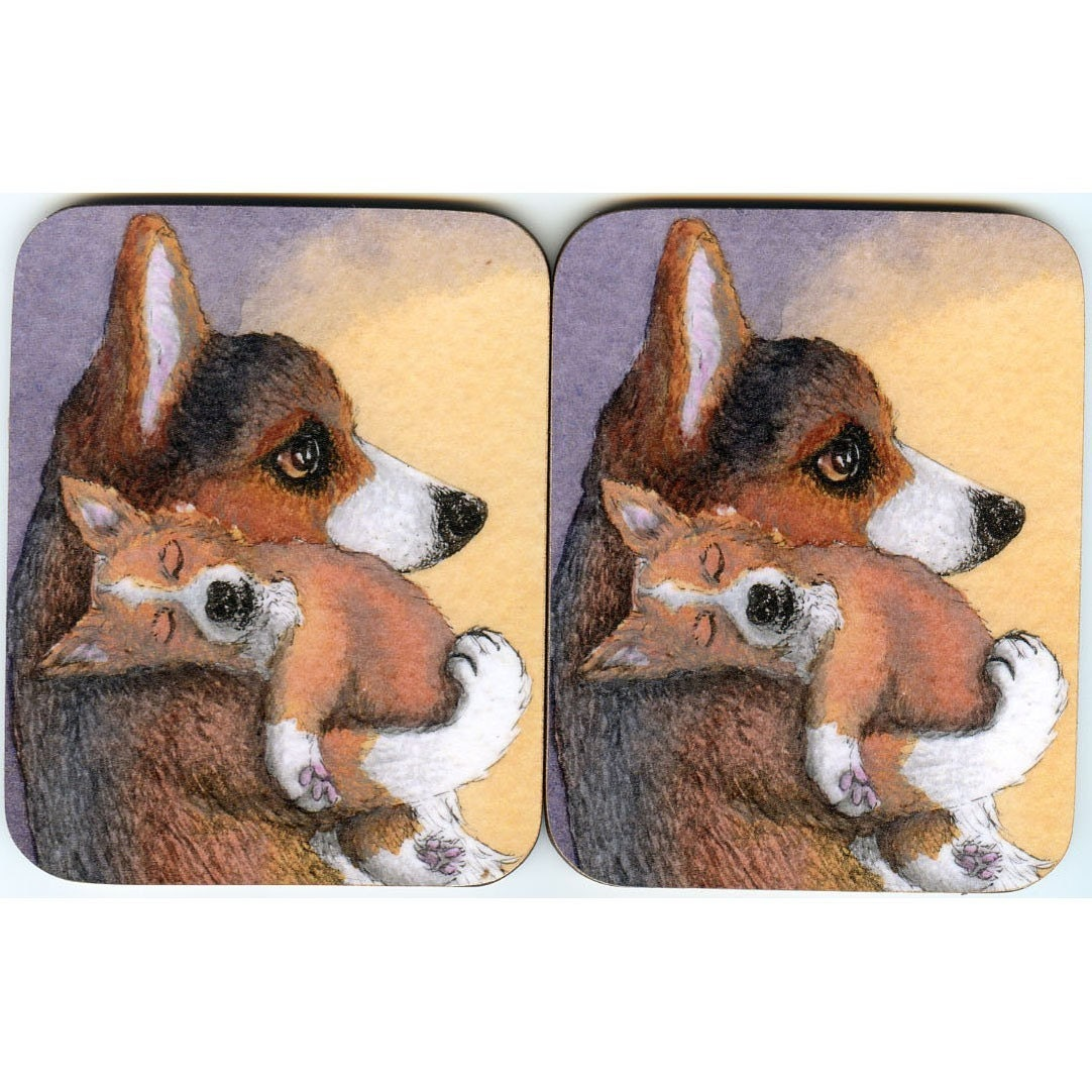 2 x Welsh Corgi dog and dreaming pup coasters