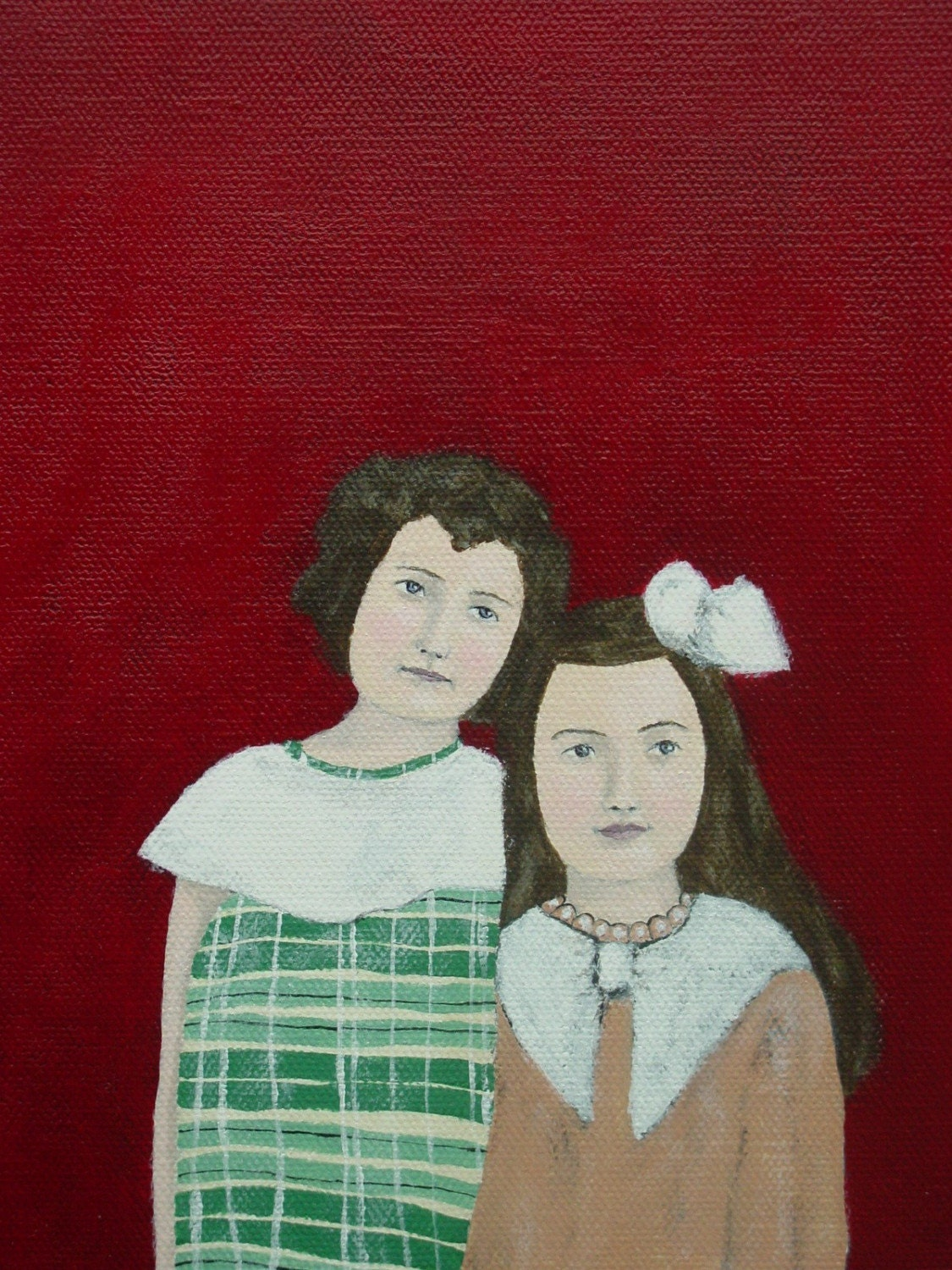 Girls in plaid and bows, Original Acrylic Painting