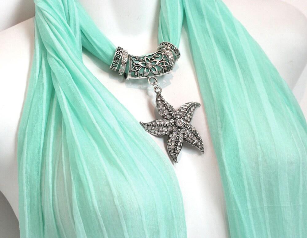 pendant scarf necklace scarves mint by ravensnestscarfjewel