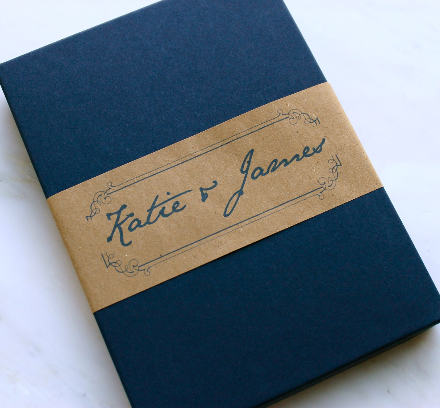 Hand Written Note - Elegant  Boxed Wedding Invitations With Burlap And Flower - Purchase for a Sample