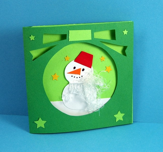 Green Holiday Snowman Christmas Card