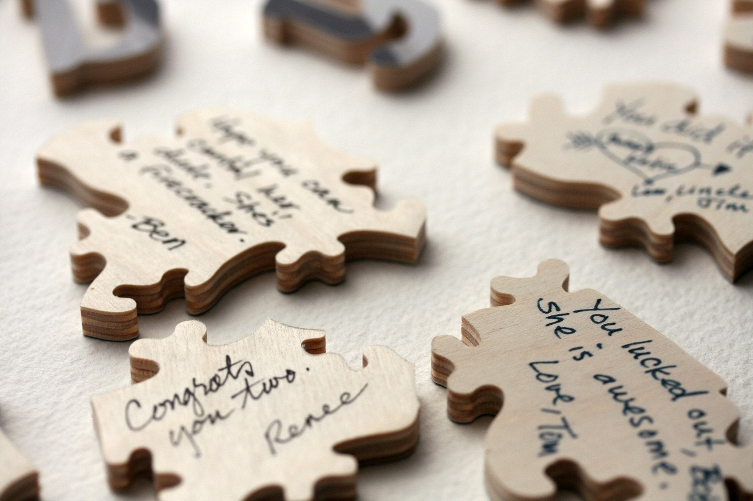 Wedding Guest Book Puzzle, photo, wood, wooden, personalized, figurals, words, 126-150 pieces, 16 x 20 inches - 180 TO 215 GUESTS