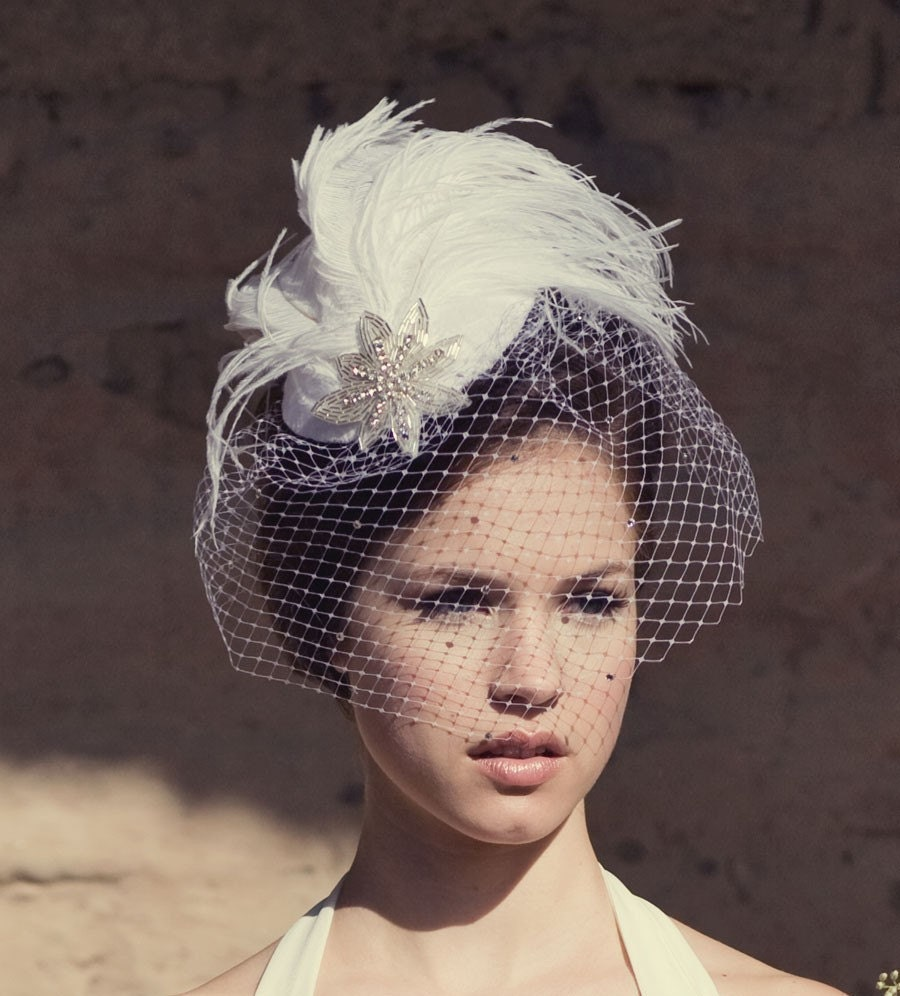 White Feather Birdcage Bridal Hat w/ Crystal Veil and Deco Star - Can Be Done In Any Color YOU Choose FREE SHIPPING