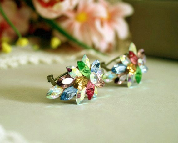 Multi Color Rhinestone Fur Clip Duette Single Prong Ab Aurora Borealis Vintage Juliana Style Costume Clips Pair Jewelry Pin Coat Scatter Pins 1930s 1940s 30s 40s