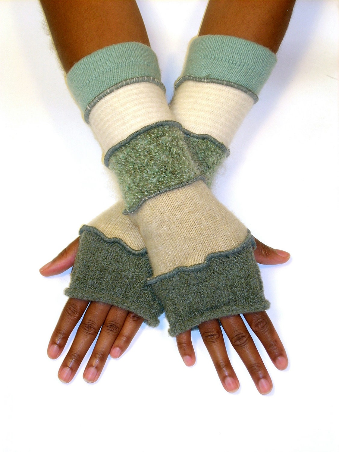 Fingerless Gloves, Arm Warmers, Soft Green And Beige (Sage, Beige, Sage Boucle, Cream, Pale Aqua) - Brendaabdullah