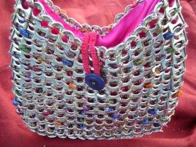 Pink and Sparkly up-cycled aluminum pop can tab purse