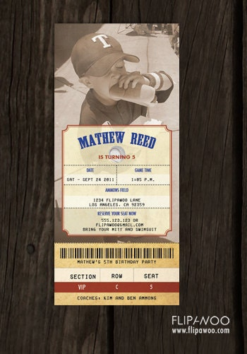 vintage baseball ticket invitation with photo by