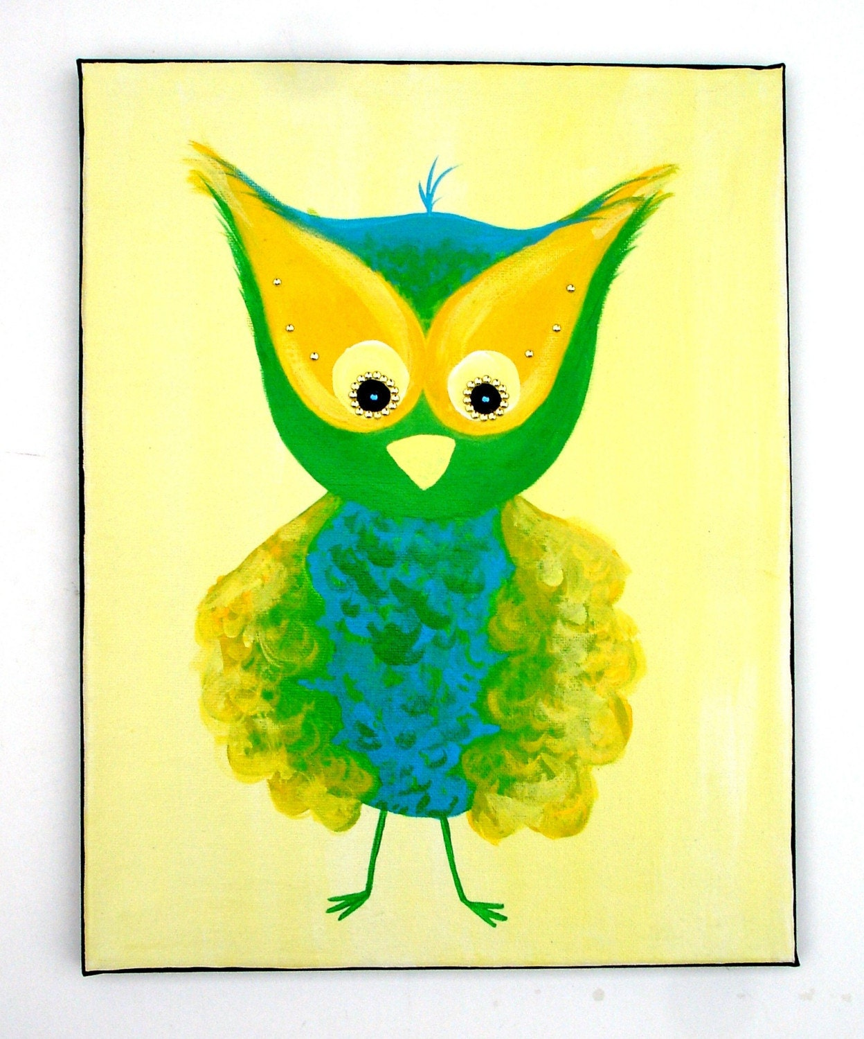 Original Owl Painting, Fun Green, Yellow, and Blue - Acrylic on 11 x 14 Canvas with Sparkly Rhinestones
