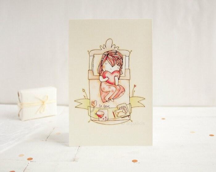 girl in love - valentine card