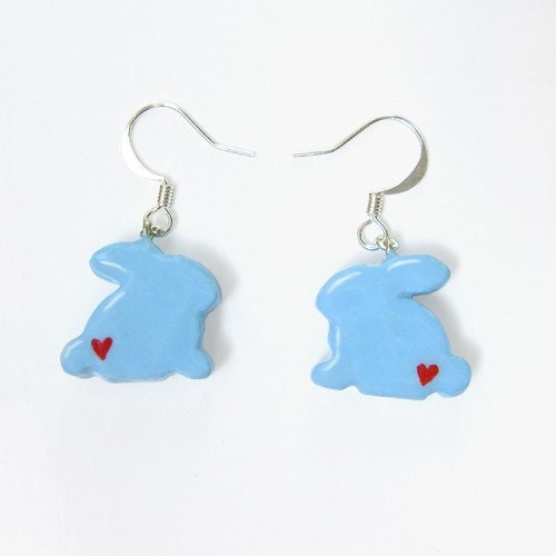 Etsy :: TheClayPony :: Pastel Blue Bunny Earrings with Hearts