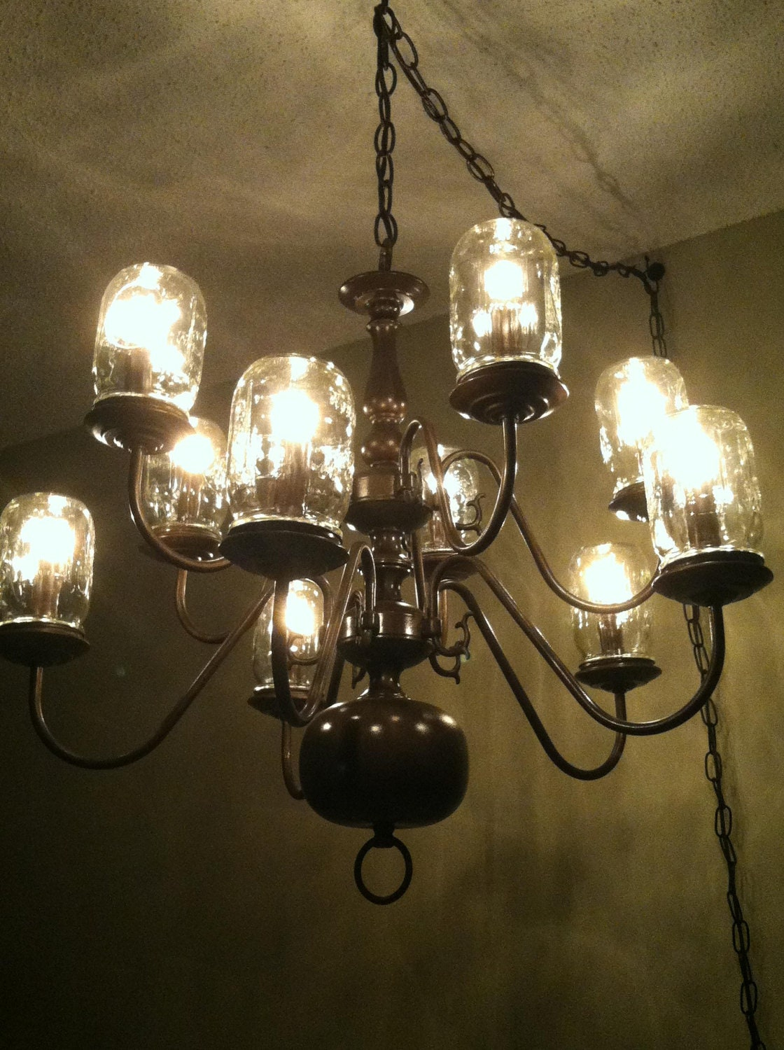 Mason jar chandelier by ljdesignscreations on etsy - Build a chandelier ...