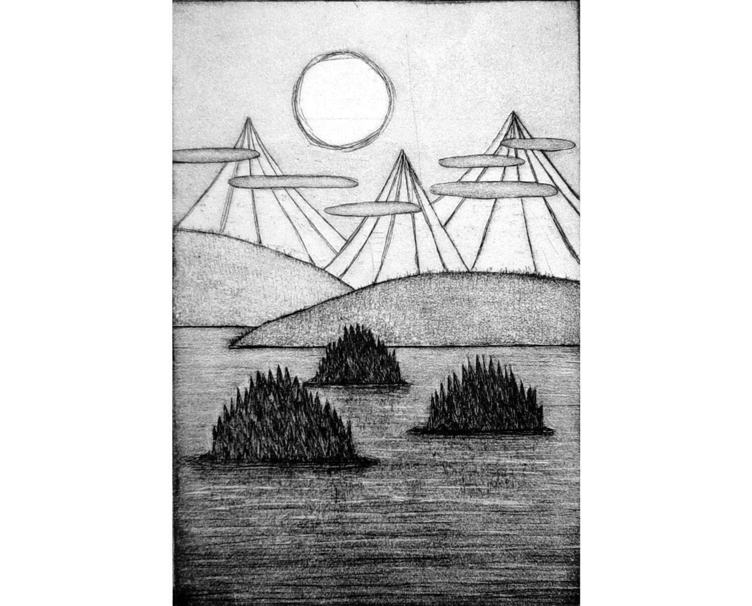 Islands (original etching)