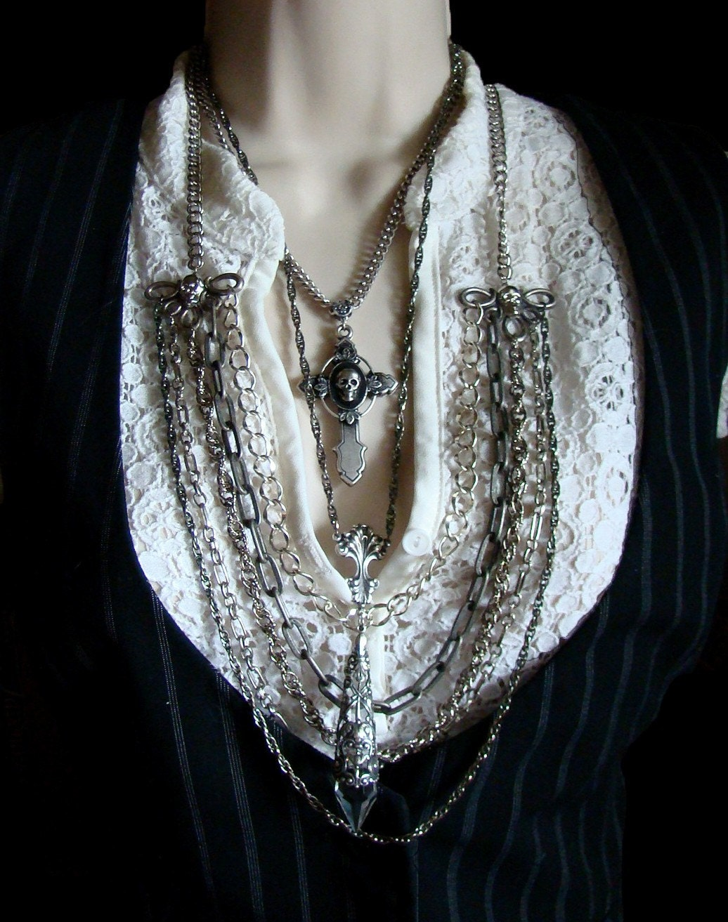Bound- 5 Strand Silver, gunmetal mixed chains layering necklace