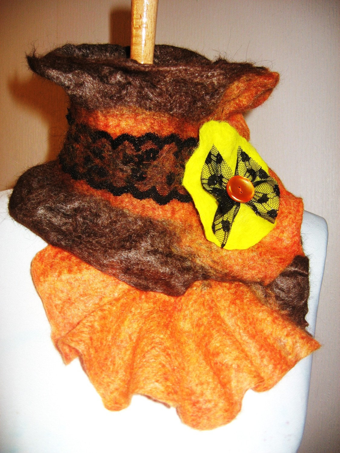 Felted Merino Wool  Silk Scarf/Neckwarmer With Felted Brooch FREE SHIPPING
