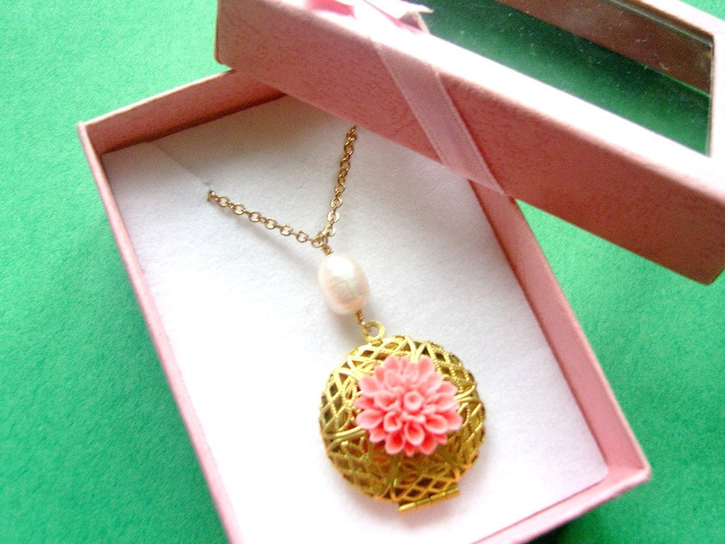 Raspberry Bloom Locket Necklace by WhimsicalTreasures01