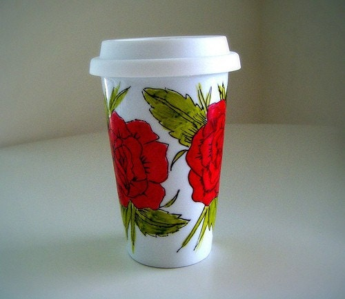 Ceramic Travel Mug Red Roses Bird Swallow Banner Tattoos French Painted Eco Friendly by sewZinski on Etsy