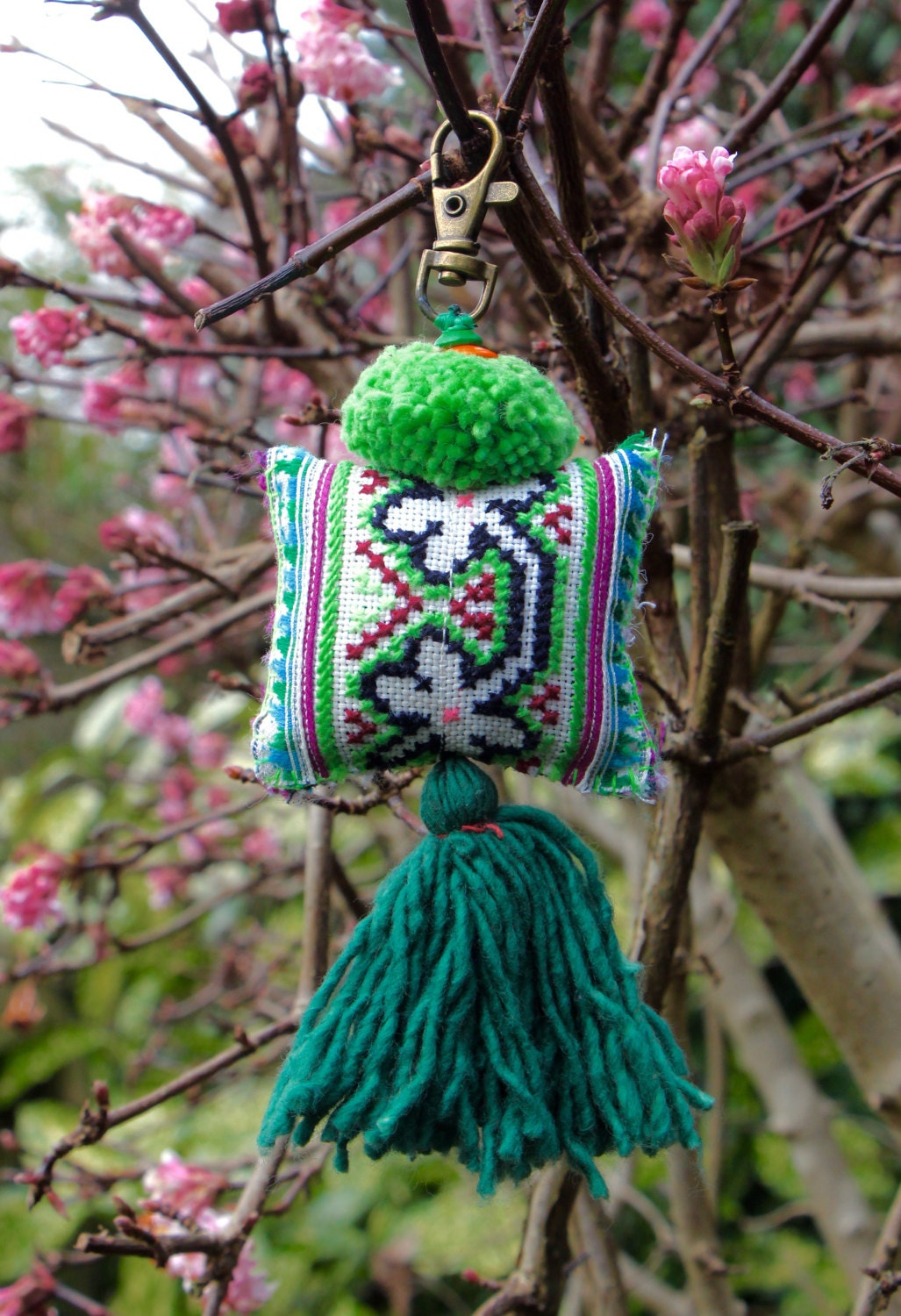 Handmade keychain bag charm Hmong textile bag accessory colourful keychain ethnic keychain ethnic accessories handmade gift