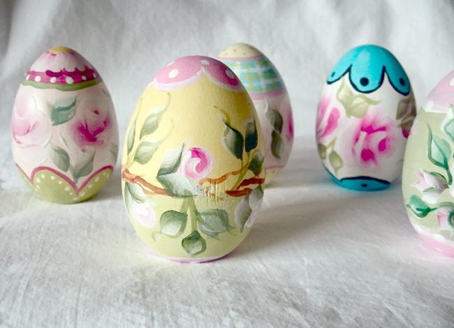 Hand painted wooden easter eggs by debster222 on etsy - Painted wooden easter eggs ...