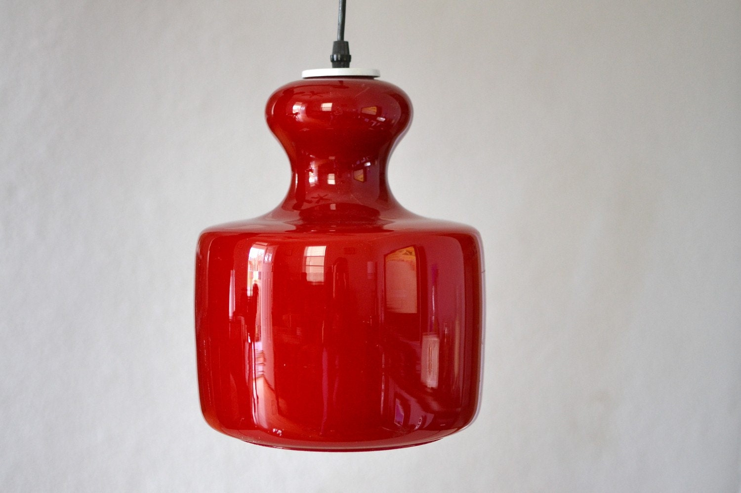 Vintage Retro Mid Century Mod red glass ceiling light lamp
