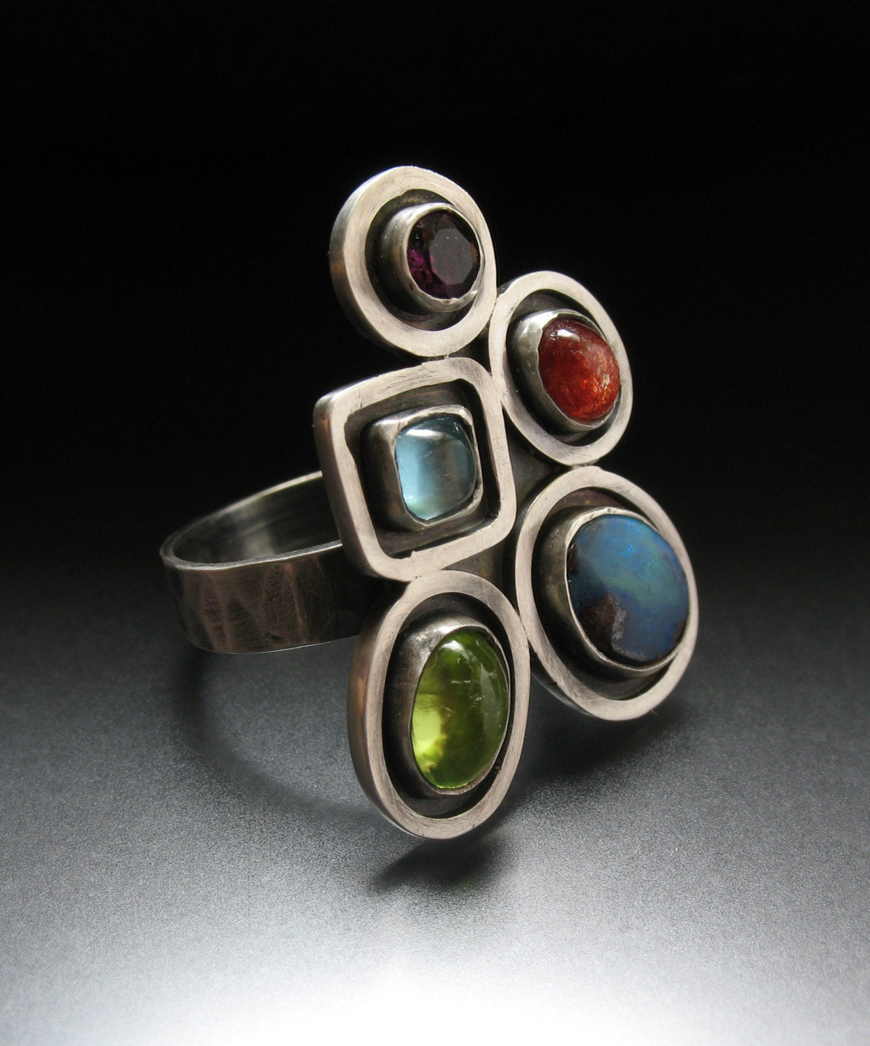 FREE SHIPPING-Painterly Collage Cocktail Ring