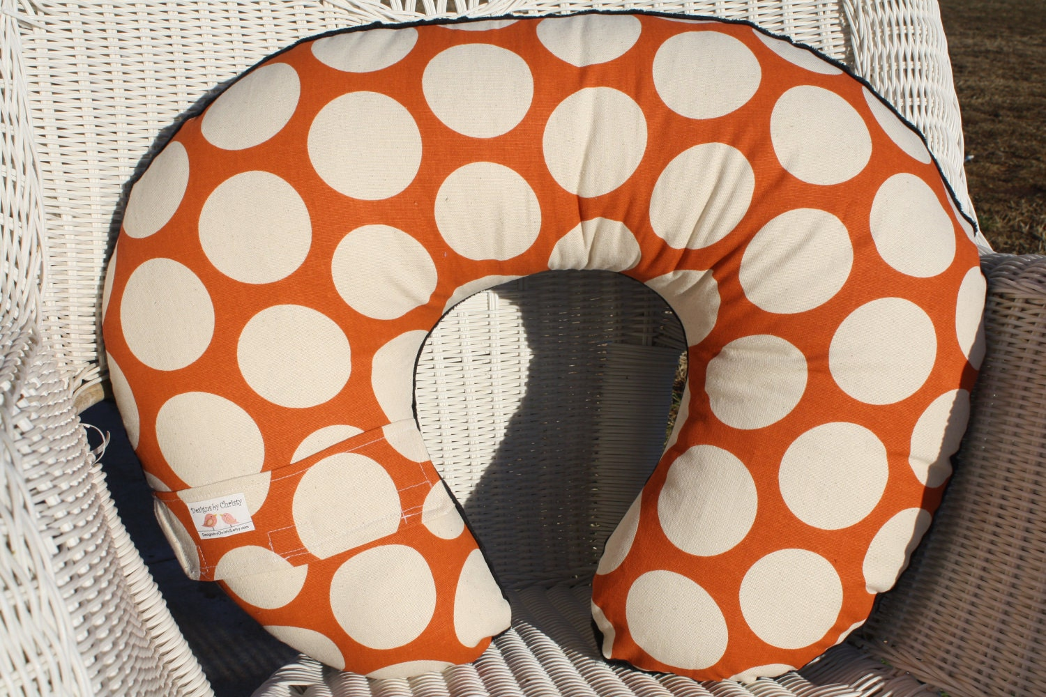 Sweet Potato Mod Dot and Taupe Minky Boppy Cover