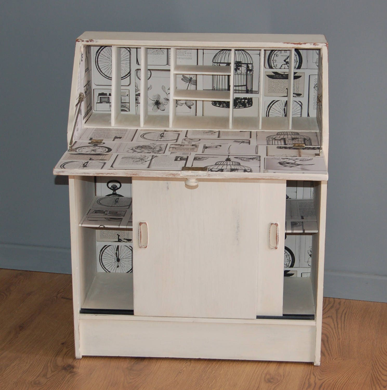 Unique French Style Antique White Shabby Chic Writing Bureau