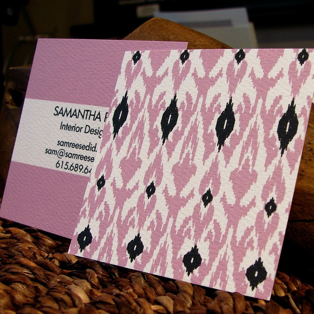 double sided two color ikat square calling cards - set (50)