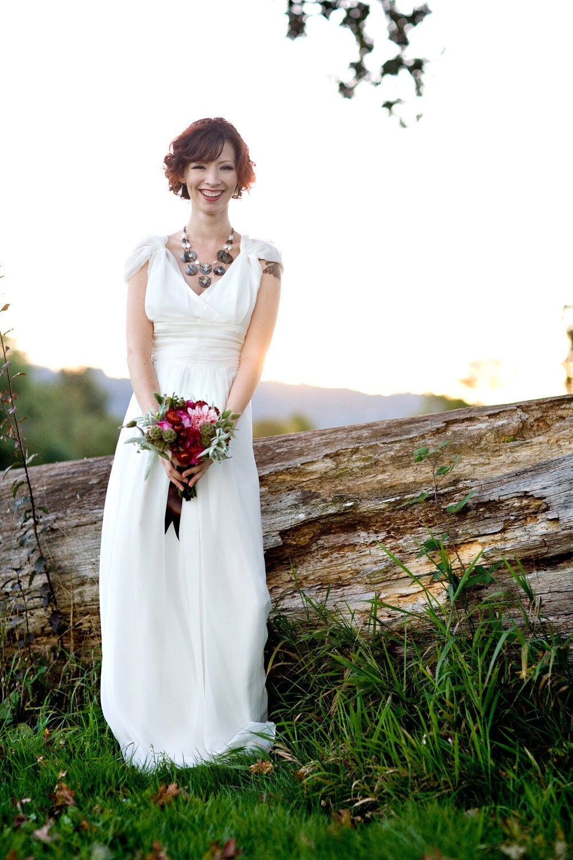 S A M P L E S A L E     maria silk chiffon gown with cap sleeves