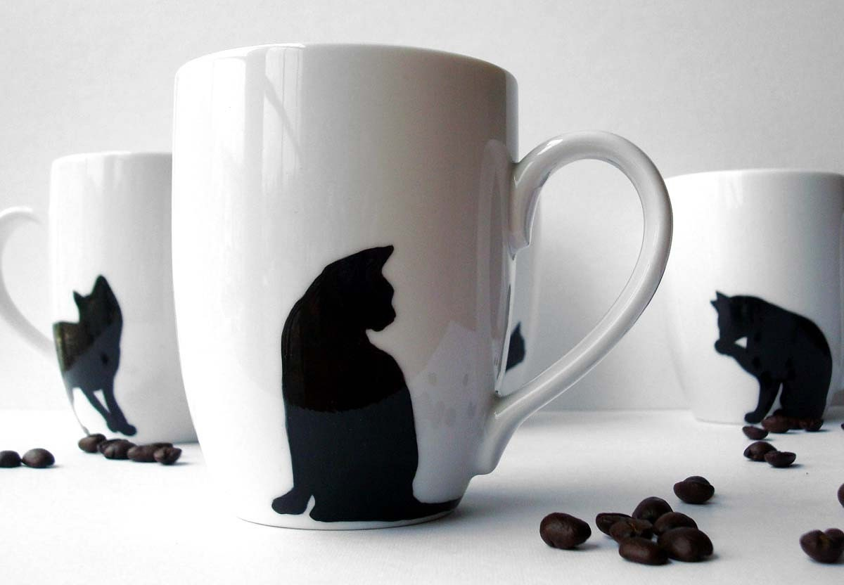 Black Cat Coffee Mugs--4 Piece Collection