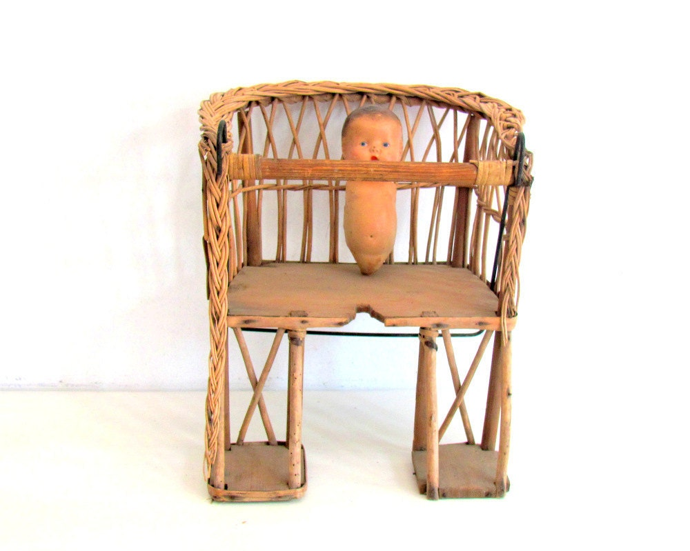 Vintage Bicycle Seat Childs Wood Wicker French Country Cottage Chic Garden Decor - NifticVintage