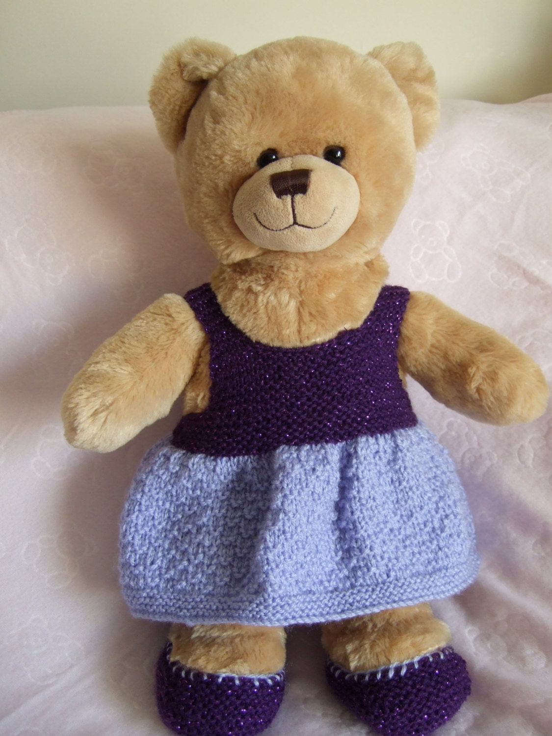 Hand Knitted 16 Teddy Bear Build a Bear Dress  Shoes. Build a Bear Accessories. Teddy Bear Accessories. Party Dress. Girls Birthday Gift
