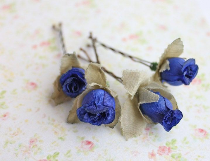 Cobalt Blue Rosebuds Hair Pins. Flower Hair Clip. Whimsical. Bridesmaids. Rustic Wedding. Woodland. Hair Accessories. Fall. Autumn Wedding. - rosesandlemons