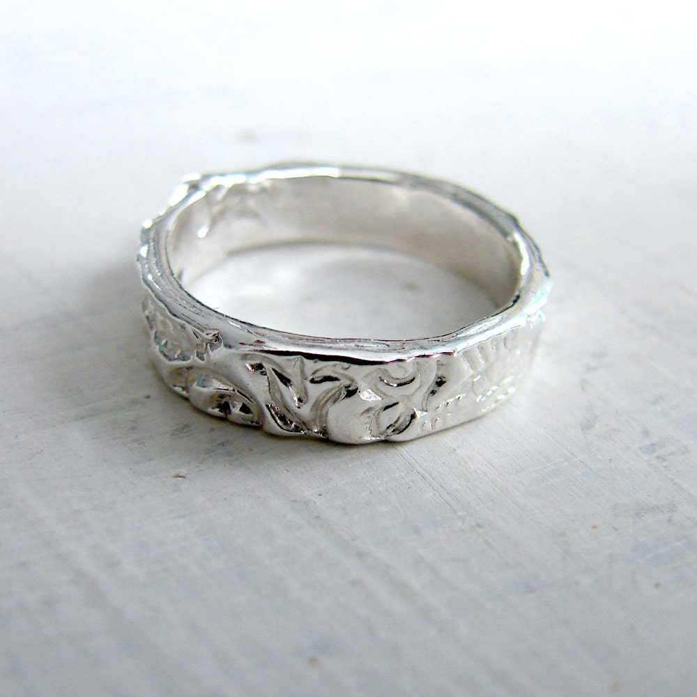 Sterling Silver Paisley Fairy Tail Wedding Ring By