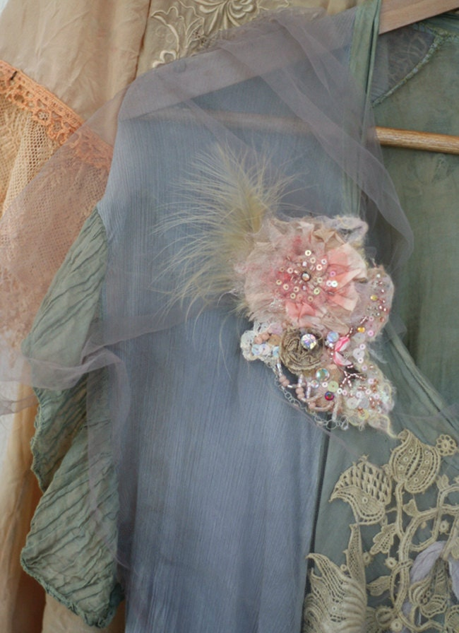 morning glow-  ethereal embroidered and beaded brooch, mixed media