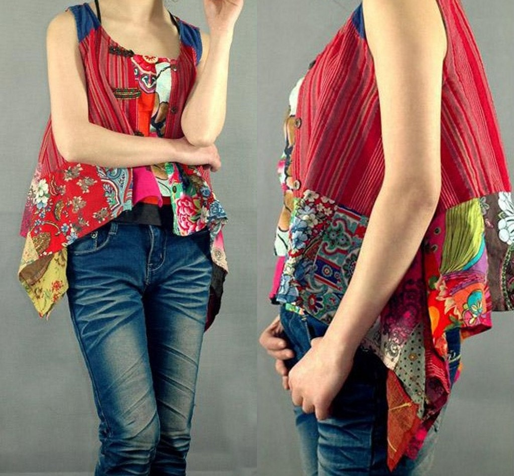 Ethnic Patchwork jacket vest