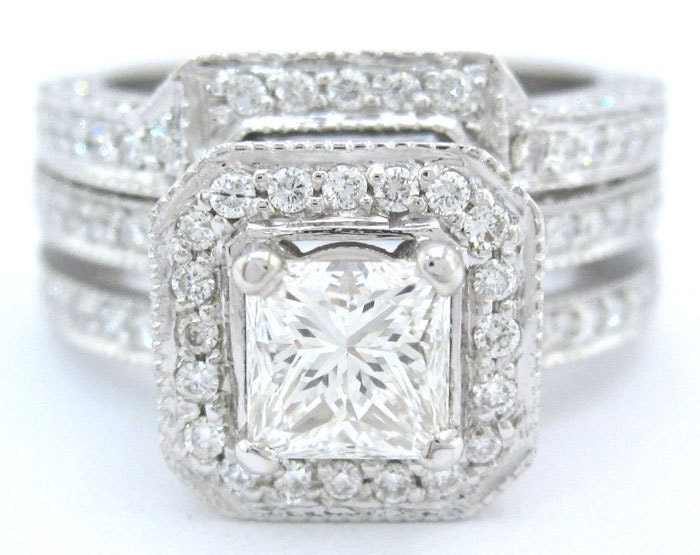 Princess cut diamond engagement ring and band antique by KNRINC