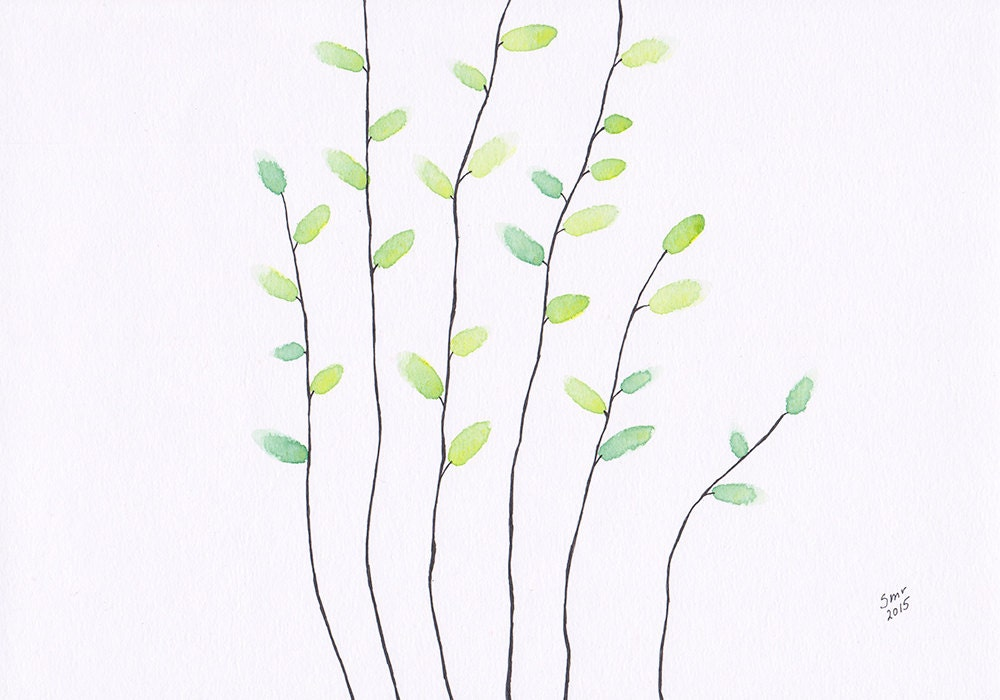Spring tree branch drawing