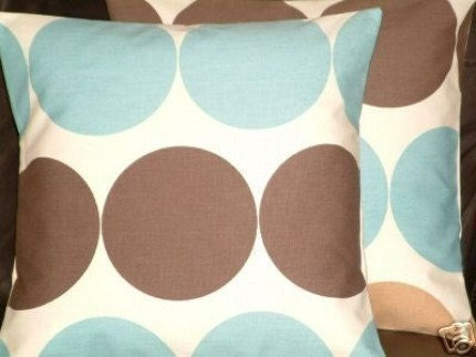 Two New 18 inch Handmade Duck Egg Blue Chocolate Brown Spot Funky Contemporary Designer Cushion Covers,Pillow cases,Pillow Covers,Pillows,Pillow Slips,NEW FABRIC