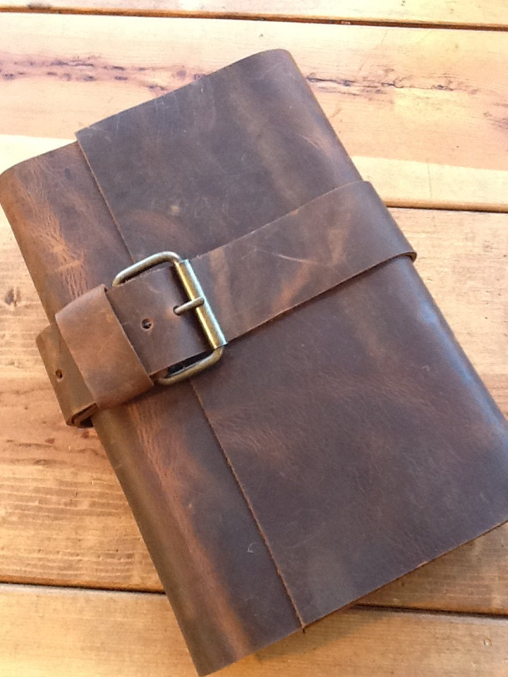 Leather journal large refillable hand stitched - LUSCIOUSLEATHERNYC