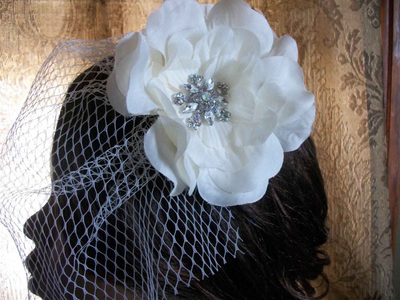 Glam Ivory Birdcage Veil With Flower Rhinestone Brooch