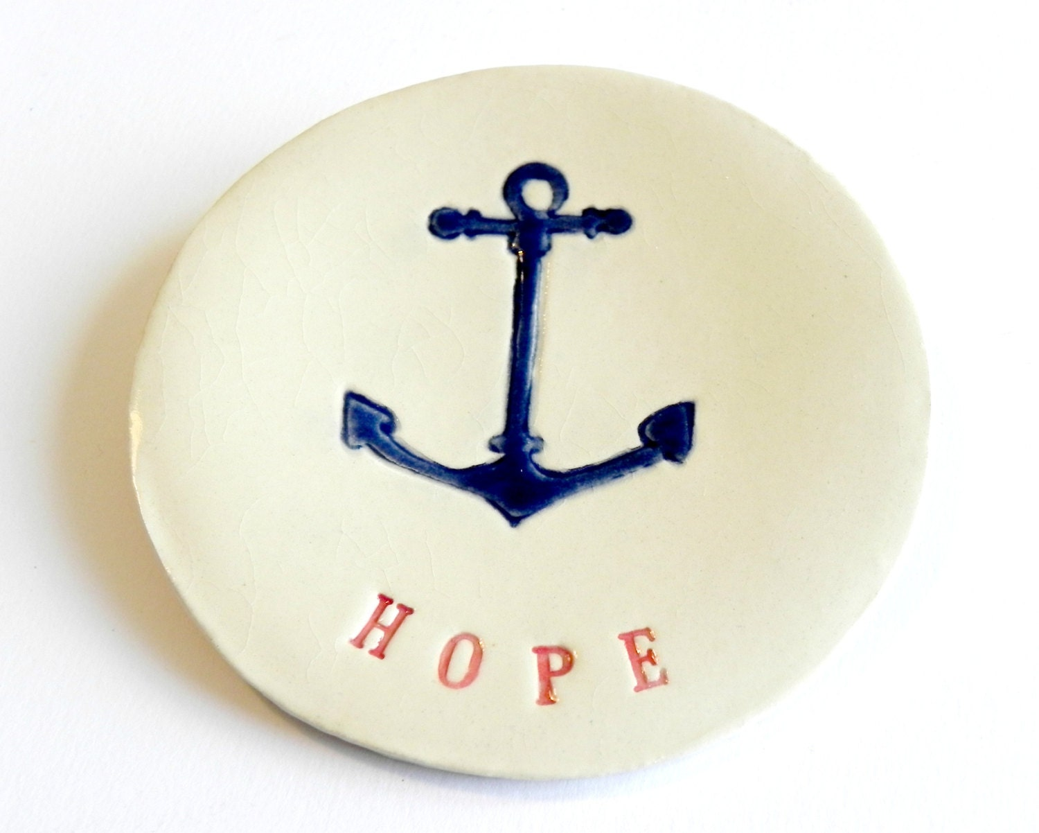 Ceramic Jewelry Dish Anchor Plate Red and Navy Blue Pottery Plate HOPE Text Message - Ceraminic