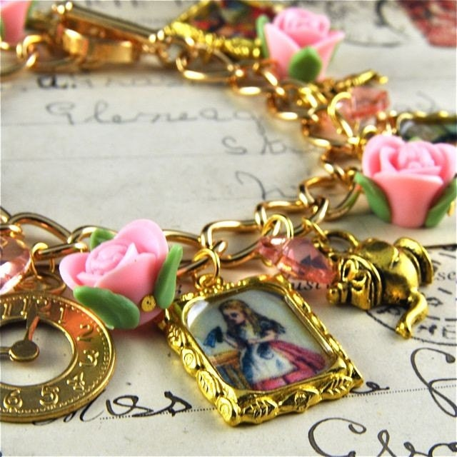 Alice in Wonderland Charm Bracelet in Gold with Pink Roses