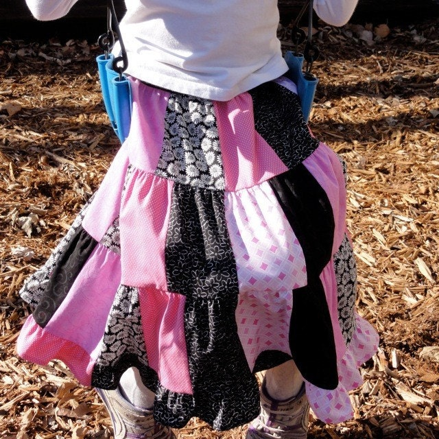 Girls Patchwork Twirl Skirt - Hot Pink and Black Size 6-8