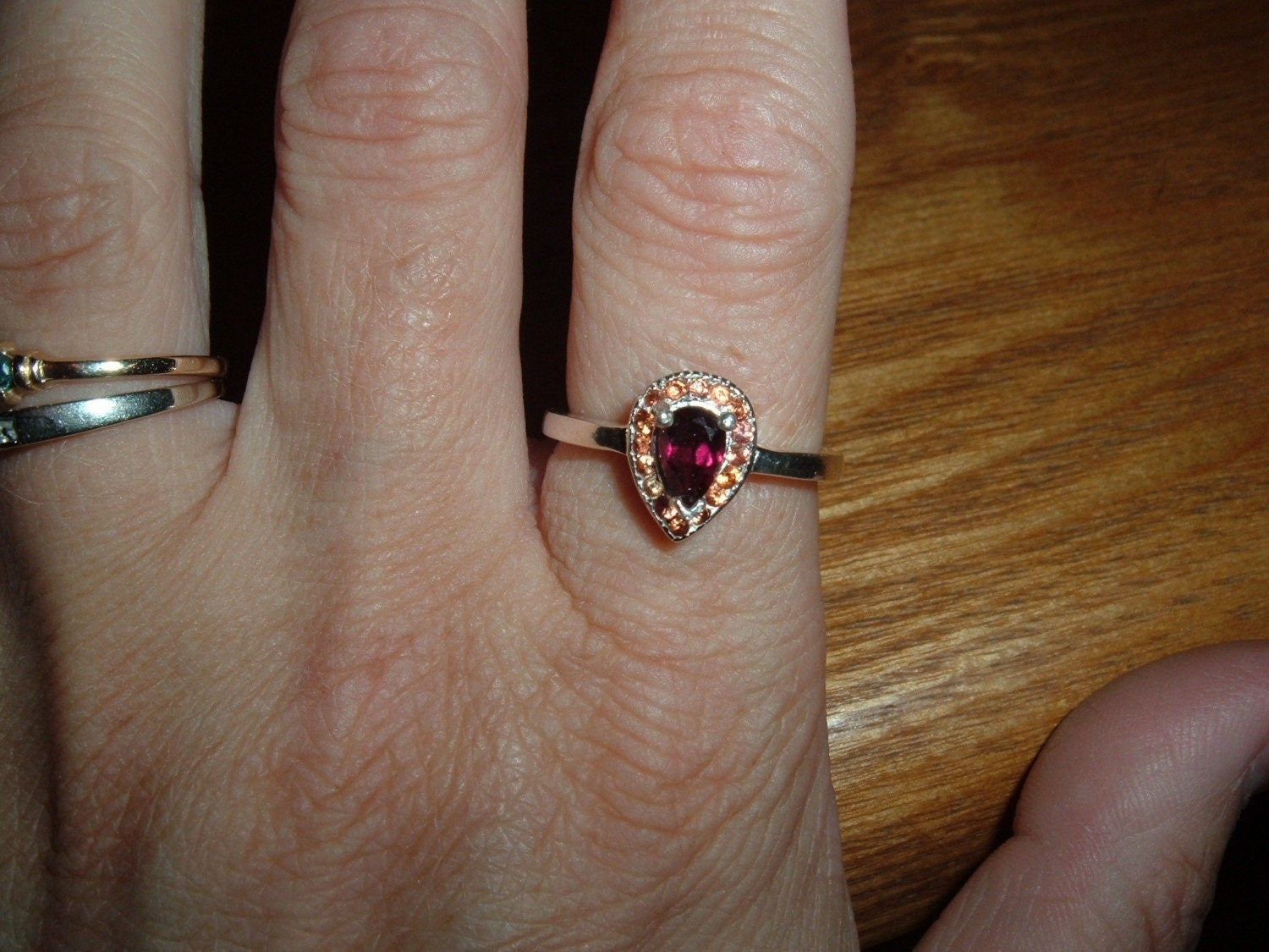SS Cherry Red Garnet and Orange Sapphire Ring
