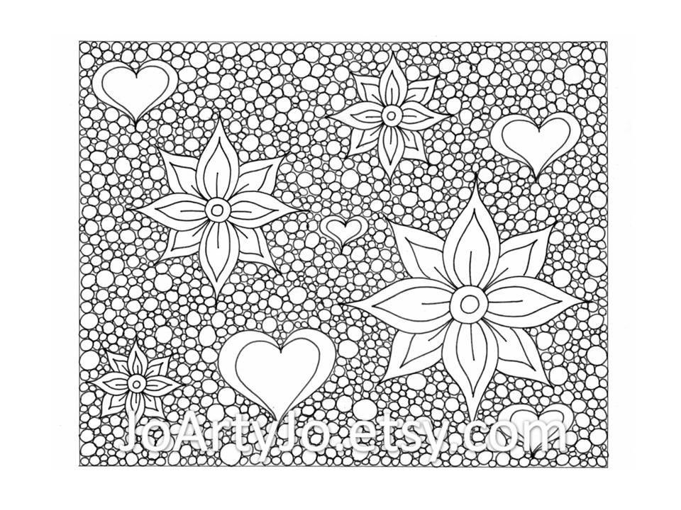 Hearts And Flowers Coloring Page Zentangle Inspired By
