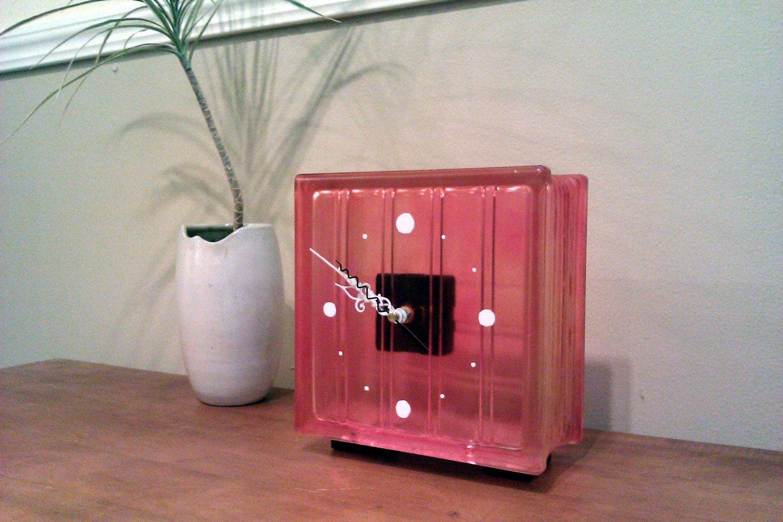 Pale Coral Glass Block Clock