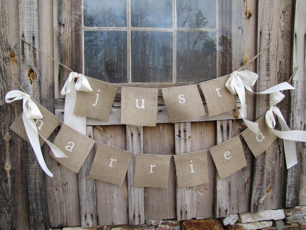 JUST MARRIED Lowercase White Glittered Burlap Banner with Ribbon Bows - funkyshique