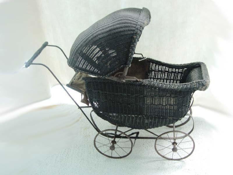 Antique Victorian Black Wicker Child S Baby By Vintagesparkles