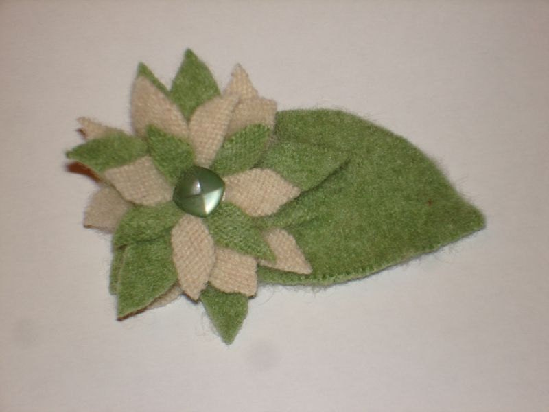 Flower Pin No.050 Felted Ivory and Green Cashmere with Vintage Button