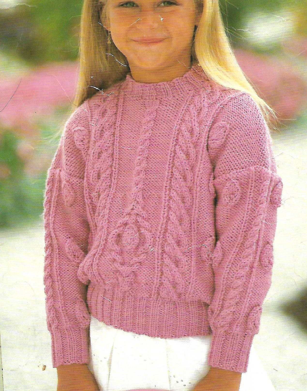 knitting pattern girls cable knit sweater jumper ages 1 to 10 years aran pdf digital download